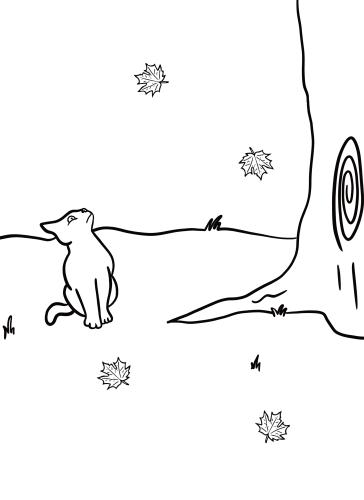 Black Cat Leaf Falling Free Printable Coloring Sheet by Mel's Doodle Designs