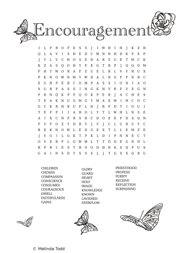 Encouragementwordsearch By Mel's Doodle Designs