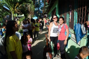 That's me with Teacher Bernadette, the Kindergarten advisor from Tanza Elementary School. I used to leave my bad and guitar in the classroom each day while working on the classroom.