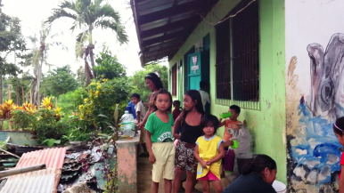 Tanza Elementary School was one of hundreds of evacuation centres. 70 families sheltered there.