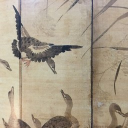 'Geese among reeds' (ink and colour pigment on silk) IS A twelve-panel continuous screen from the book 'The Poetry of Ink: The Korean Literarti Traditon 1392-1910.