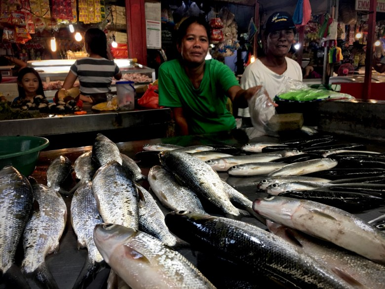 Fish and seafood vendors in the market co-operative of Estancia, Philippines.