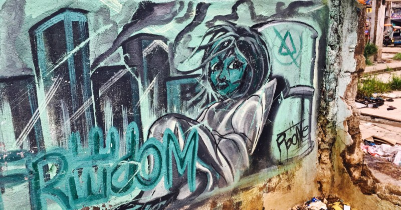 street art mural of a homeless girl Philippines