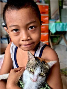 little boy and his cat