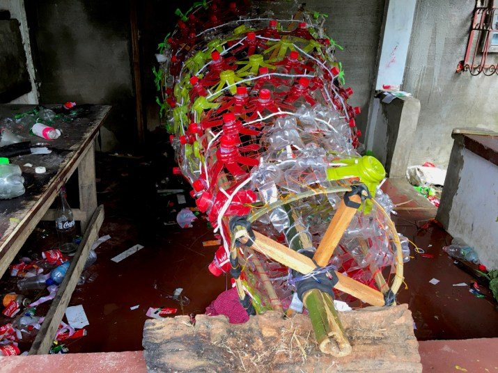 recycling plastic waste bottles to make Christmas trees