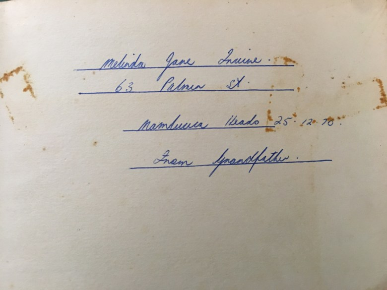 inscription written by my grandfather in 1970