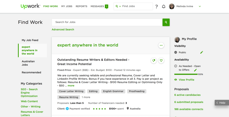 find freelance writing clients on Upwork