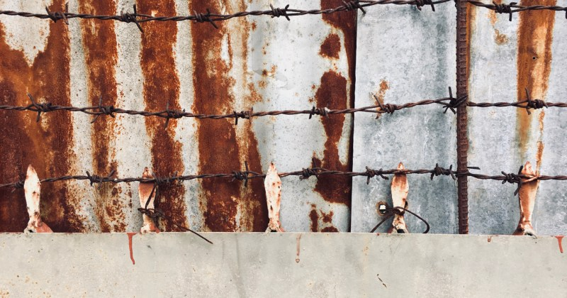 rust and barbed wire