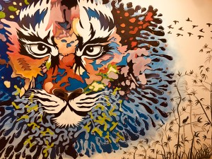 painted lion mural