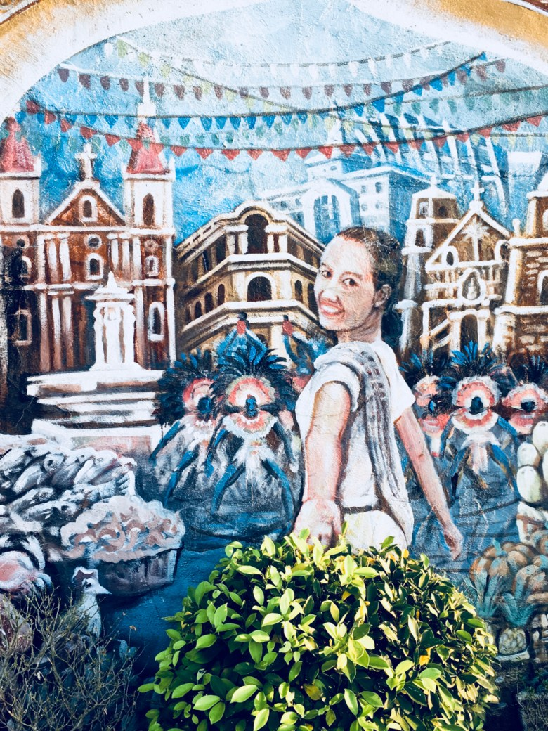 mural and plant