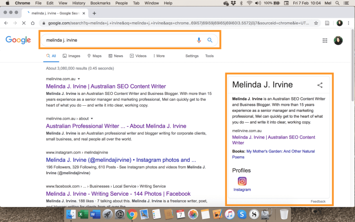 Google Knowledge Pane for Melinda J. Irvine