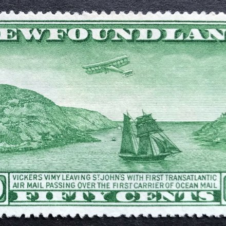 1931 Newfoundland stamp Green Vickers Vimy Biplane and Sailing Packet
