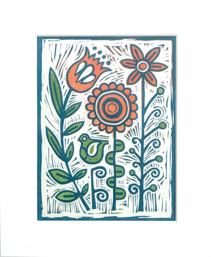 Colourful lino print artwork by Melissa Birch, titled In My Garden
