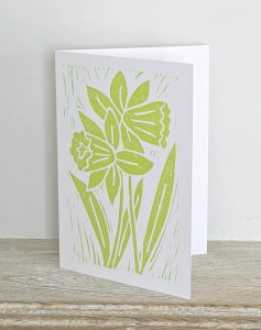 Hand printed card by artist Melissa Birch with Daffodils design