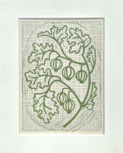 Lino print artwork by Melissa Birch showing Gooseberries on a bush in natural green
