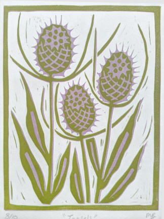 Floral lino print by artist Melissa Birch, depicting Teasels in sage green and lilac on white background