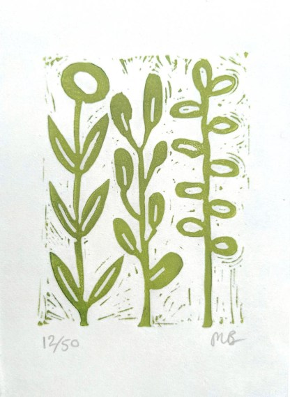 Small lino print by artist Melissa Birch showing abstract floral Stems in vivid green on white