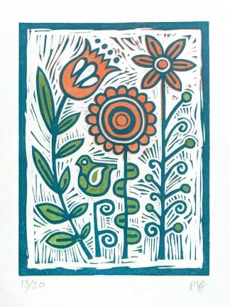 Colourful lino print by Melissa Birch, In My Garden