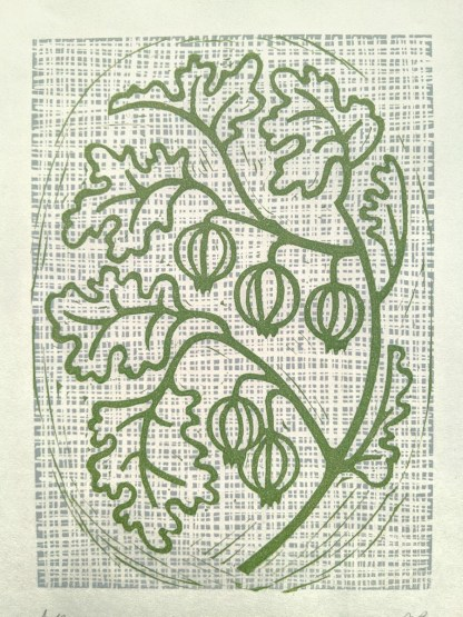 Lino print artwork by Melissa Birch showing Gooseberries on a stem with leaves