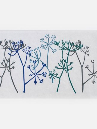 Lino print of hogweed flowers in greys and blues