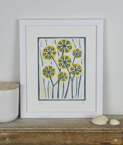 Framed lino print by Melissa Birch