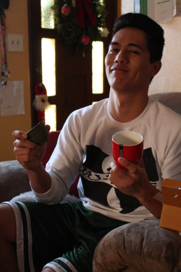 My older brother enjoying his new tea cups. (He loves tea)