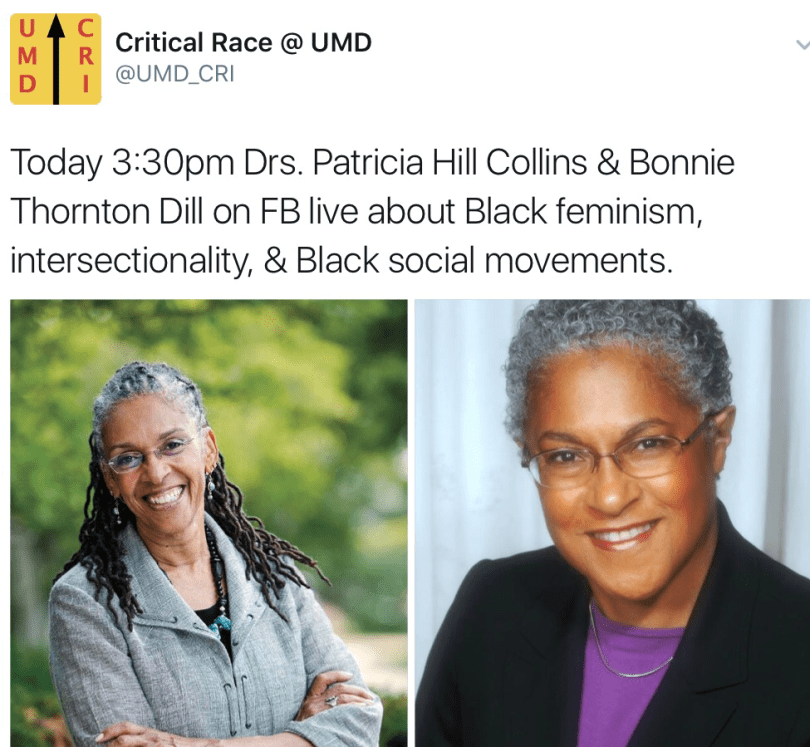 Dean Bonnie Thornton Dill and Dr. Patricia Hill Collins held a panel on Black feminism, intersectionality, and Black social movements in Dr. Collins' Black social movements course.