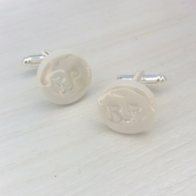 personalised pearl cufflinks