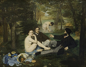 Le Dejeuner sur l'herbe (Luncheon on the Grass), Edouard Manet, Oil, 1863, French