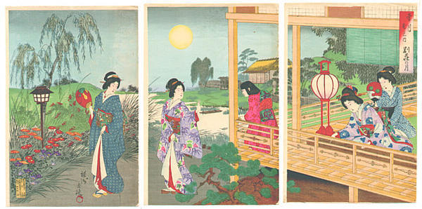 The Moon at the Vacation House by Chikanobu, Woodblock print, 1891