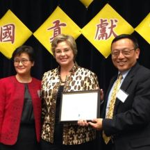 Irvine Commissioner Melissa Fox awarding Certificate of Recognition to Irvine Chinese School