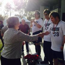 Irvine Community Services Commissioner Melissa Fox presenting awards at Special Olympics