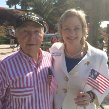 rvine Community Services Commissioner Melissa Fox with her father, Korean War veteran Stan Kay, at Memorial Day ceremony at Col. Bill Barber Marine Corps Memorial Park