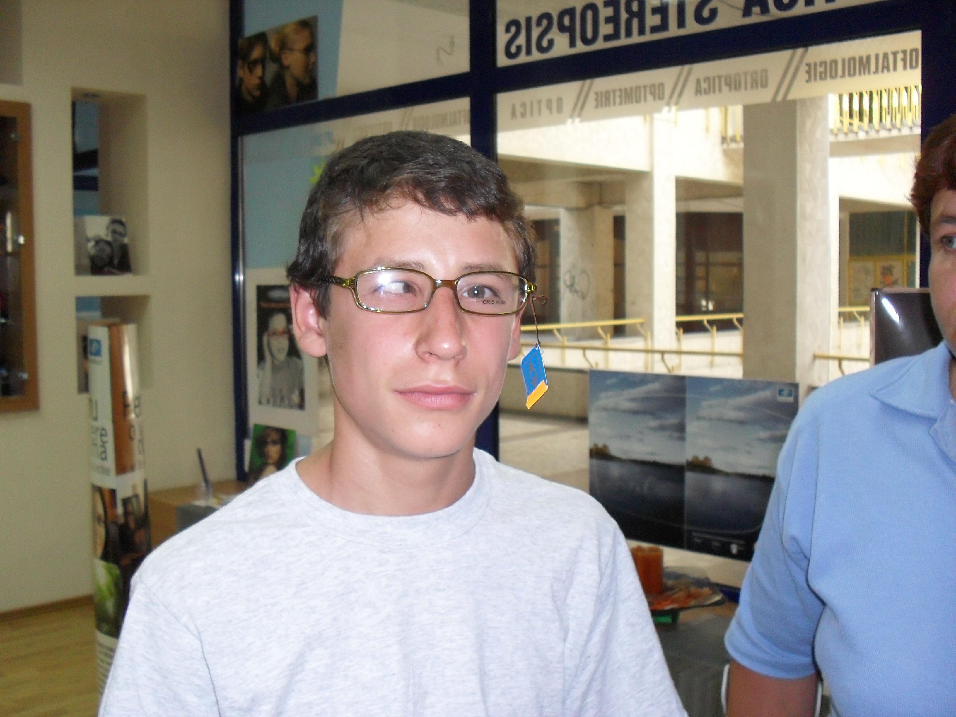 Bogdan trying on glasses.