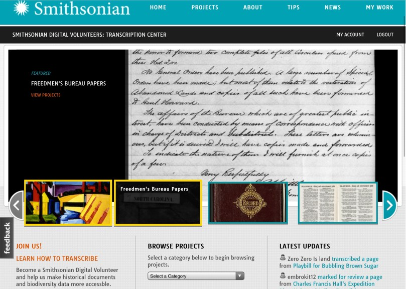 Crowdsourcing History: Smithsonian Transcription Center