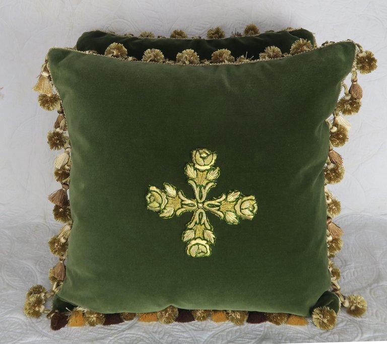 19th century appliqued green velvet pillows by melissa levinson