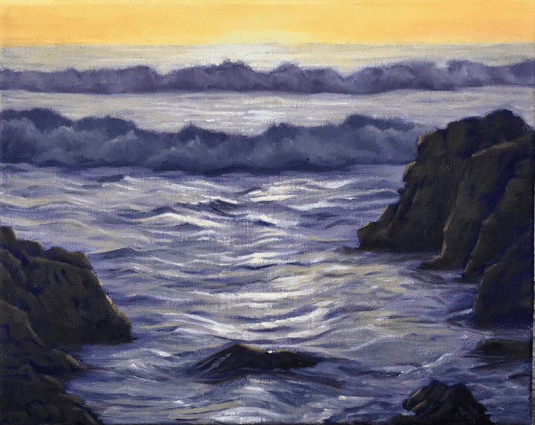 seascape waves golden hour coast oil painting