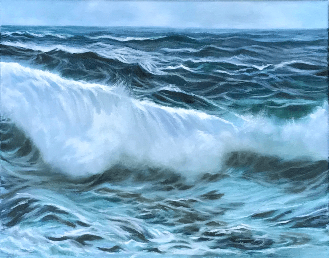 oil painting stormy ocean waves