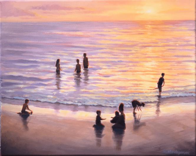 oil painting sunset beach nicaragua san juan del sur