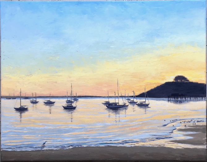 oil painting seascape boats Half Moon Bay