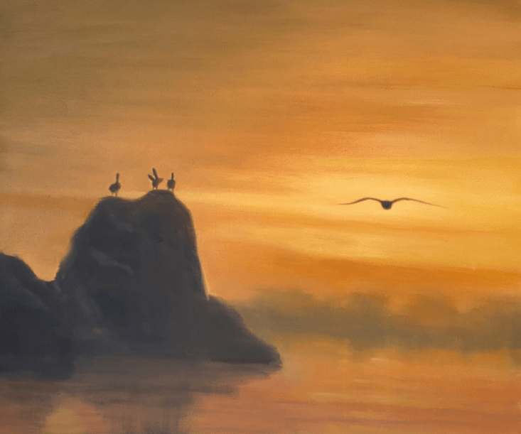Oil painting of a pelican flying towards a sunset and pelicans resting on large rocks in ocean