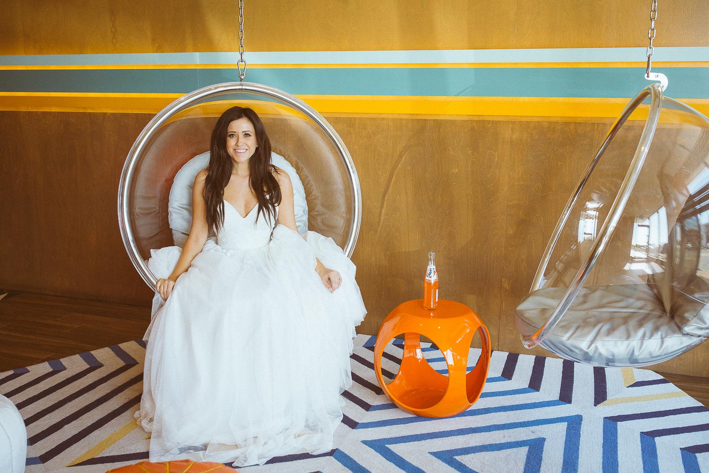 Burger and bride wedding dress motel