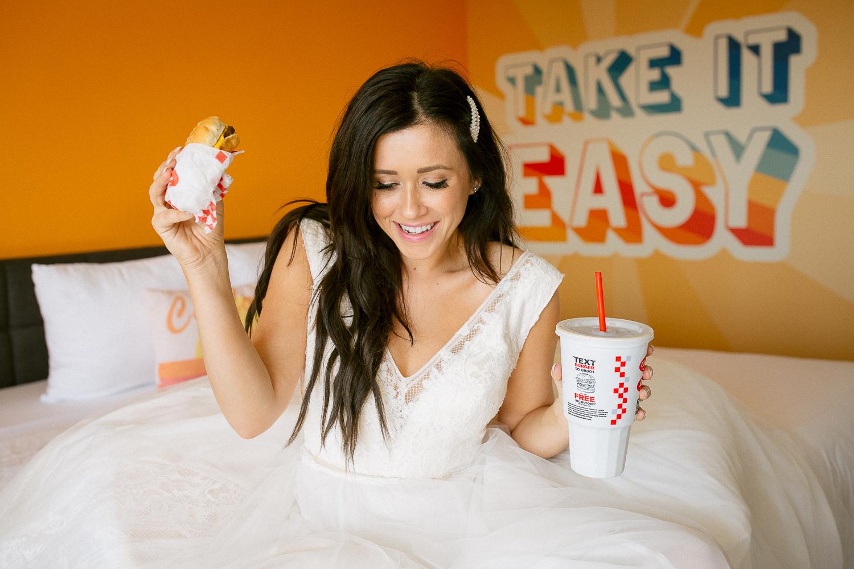 Bride Eating during wedding