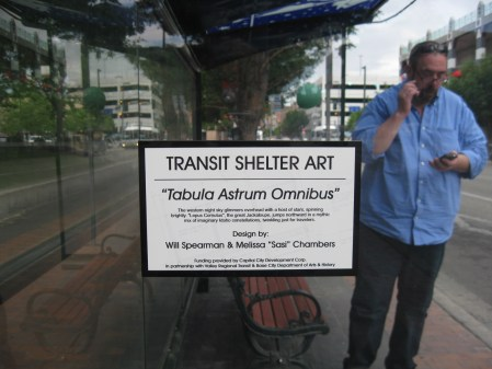 "©2013 Melissa ""Sasi"" Chambers and Will Spearman - ""Tabula Astrum Omnibus"" - bus shelter in Boise, Idaho"