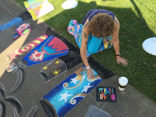 Sasi making chalk art 7/4/15