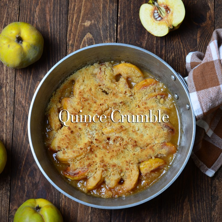 Quince Crumble Pie in a vintage pan
