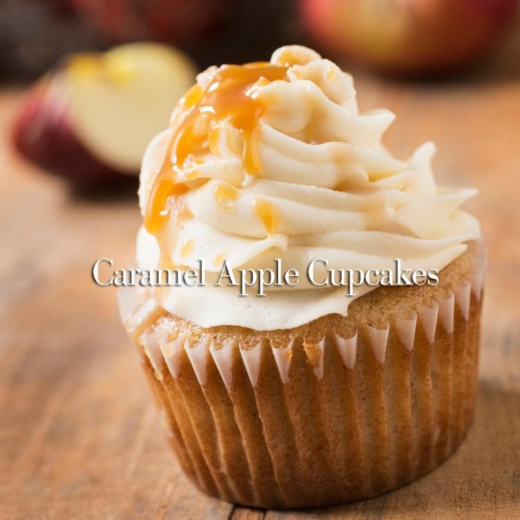 Caramel Apple Cupcake Close-up at an Angle