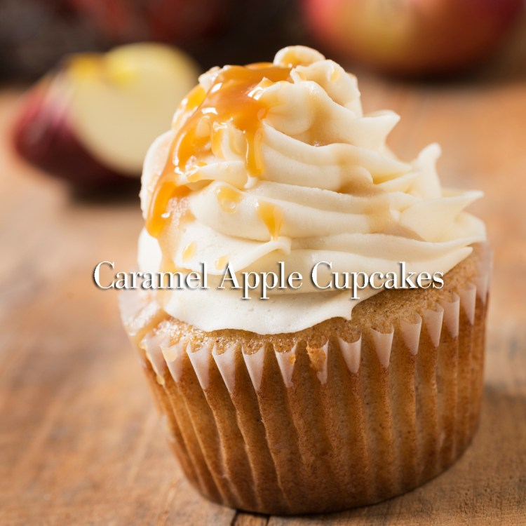Caramel Apple Cupcake Close-up at an Angle