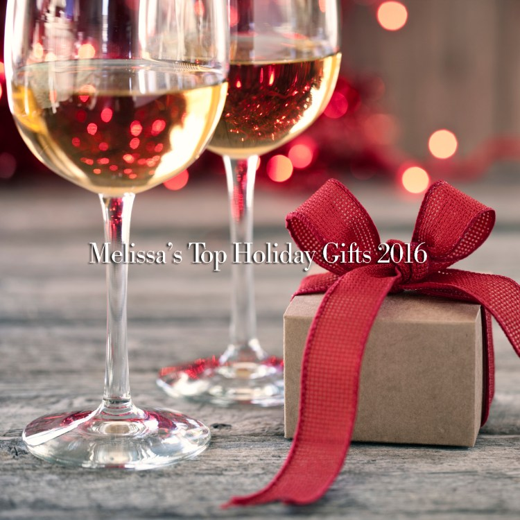 Environmentally Friendly White Wine and Gift on Rutic Wood Background