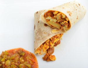 vegetarian potato egg burrito